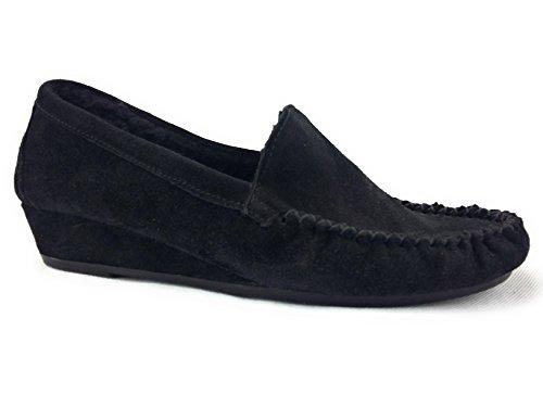 Lina - Zapatillas de estar por casa de ante para mujer negro negro
