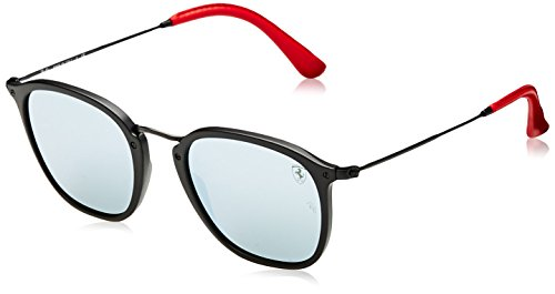 (Ray-Ban RB2448NM Scuderia Ferrari Collection Square Sunglasses, Matte Black/Silver Flash, 51 mm )