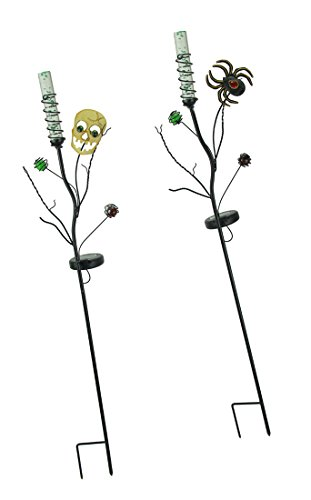 Regal Art & Gift Metal & Glass Garden Stakes Set of 2 Solar Powered Halloween Skull and Spider Led Light Garden Stakes 8 X .34.75 X 4.25 Inches Multicolored