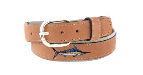 ZEP-PRO Men's Tan Leather Embroidered Marlin Belt, 38-Inch, Tan/Buff