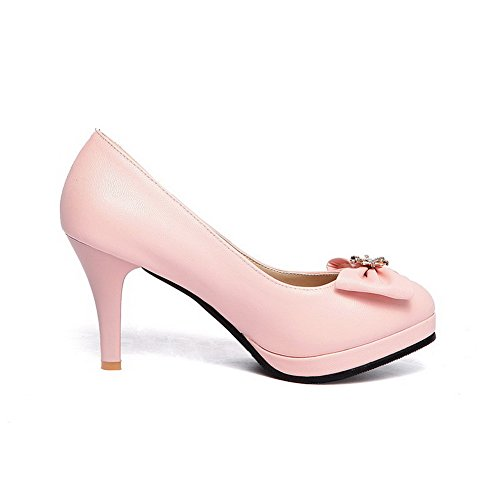 Amoonyfashion Mujeres Pu High Heels Round Cerrado Dedo Del Pie Solid Pull On Pumps-Zapatos Pink