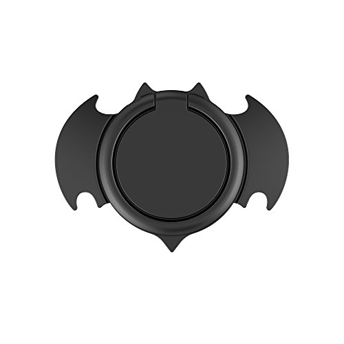 Cool Bat Cell Phone Ring Holder, E-SYB Bat Man Finger Ring for Phone, 360° Rotation Phone Grip Ultra Thin Zinc Alloy Metal Car Mount Kickstand for Universal Phones and Cases(Black)