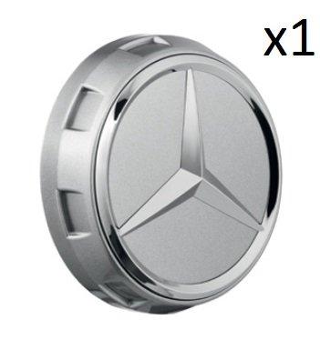 Mercedes Benz Genuine Wheel Center Cap (Qty: 1) (AMG Raised Cap Dark Shadow Chrome Metallic)