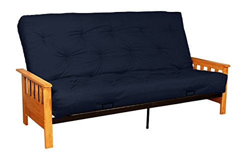 Epic Furnishings Berkeley True 8-inch Loft Cotton/Foam Futon Sofa Sleeper Bed, Queen-size, Natural Finished Arms, Twill Navy Blue Upholstery