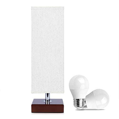 Bedside Table Lamp with Bulbs, 2PCS LED Bulbs Included,Aooshine Minimalist Solid Wood Table Lamp with Square Fabric Shade and Havana Brown Wooden Base