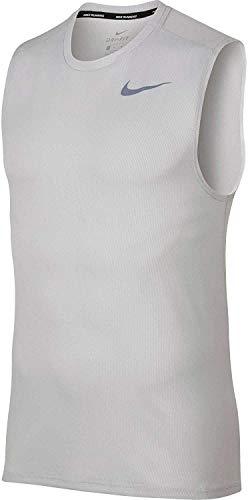 NIKE Mens Breathe Sleeveless Running Shirt (Vast Grey/Vast Grey,Medium)