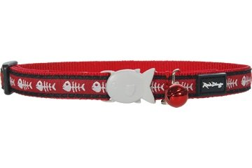 Red Dingo Designer Cat Collar, One size fits all, Fishbone Red, My Pet Supplies