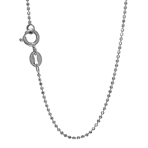 JewelStop 14k Solid White Gold 1 mm Diamond-Cut Bead Ball Chain Spring Ring Clasp-16