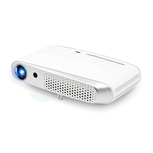 Intelligent Pico Projector, Business Office Projector Support 3D WiFi Built-in Android System Suitable for Working Conference Teaching Families,White from WWK