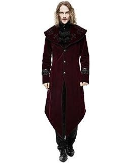 Devil Fashion Gilet Hommes Redingote Manteau Rouge Velours Noir Gothique  Steampunk Aristocrate 0883fc8a913