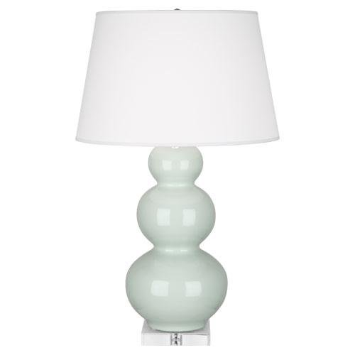 Robert Abbey A371X Lamps with Pearl Dupioni Fabric Shades, Lucite Base/Celadon Glazed Ceramic FinisH, 33