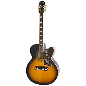 Epiphone EJ-200SCE Solid Top Cutaway Acoustic/Electric Guitar, Vintage Sunburst Finish, Maple Body, Spruce Top, 25.5 scale