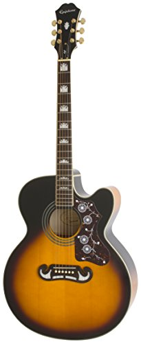 Epiphone EJ-200SCE Solid Top Cutaway Acoustic /Electric Guitar, Vintage Sunburst