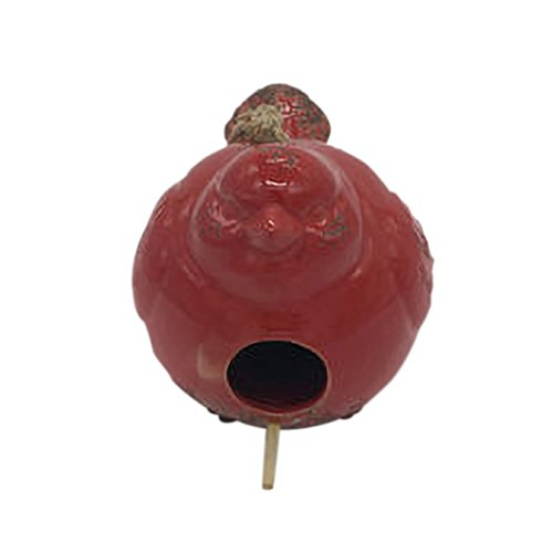 Ceramic Birdhouses - Drew DeRose Distressed Red Bird Shaped 8 x 6 Ceramic Birdhouse With Twine Hanger