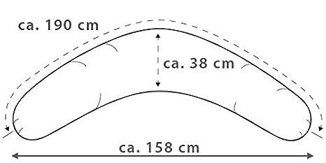 Dinkel Jersey anthrazit//wei/ß das Qualit/ätsstillkissen,Seitenschl/äferkissen von Theraline Theraline Stillkissen 190cm mit Mikroperlen// Standardperlen oder Dinkelspreu und Bezug nach Wahl