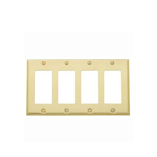 Baldwin 4742.030.CD Classic Square Beveled Edge Quad GFCI Switch Plate, Polished Brass - Lacquered by (Gfci Quad)