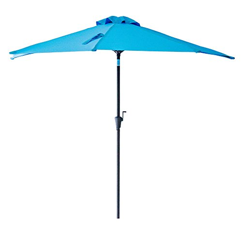FLAME&SHADE 9' Half Round Outdoor Patio Market Umbrella with Tilt for Balcony Deck Garden or Terrace Shade, Aqua Blue