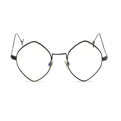 ou soleil Miroir Mode Lunettes Métal Noir soleil Voyager Des Homme de Cru Cadre lunettes de Femme Deylaying Lunettes Polygonal PtdqTwT