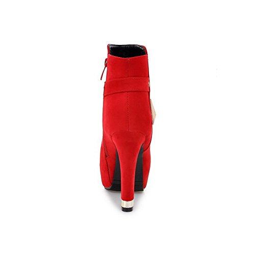 AllhqFashion Damen Rund Zehe Eingelegt Niedrig-Spitze Hoher Absatz Stiefel Rot