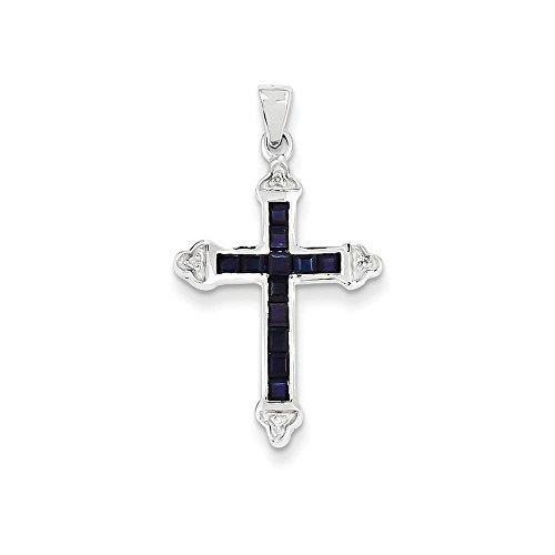 Jewels By Lux 14k White Gold Diamond & Sapphire Cross Pendant, Diamond Cttw 0.01, Gem Cttw (Antique Sapphire Cross)