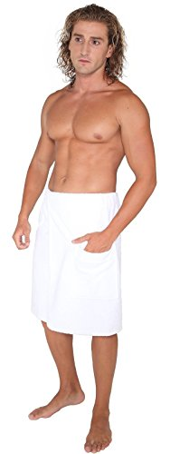 Arus Men's Organic Turkish Cotton Adjustable Closure Spa Shower and Bath Wrap White L/XL -