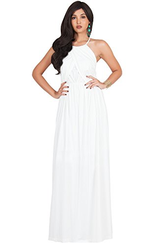 KOH KOH Plus Size Womens Long Bridesmaid Sleeveless Cocktail Evening Prom Formal Special Occasion Floor-Length Beach Wedding Party Guest A-Line Flowy Gowns Maxi Dresses, Ivory White 3XL (Plus Size Fancy Dress Outfits)