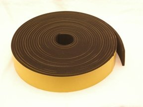 Rubber-Stuff Neoprene Rubber Self Adhesive Strip 20MM Wide X 5MM Thick X 5M Long (Black With Yellow Backing Tape)