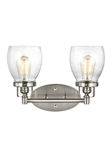- Sea Gull Lighting 4414502-962 Belton Two Light Wall/Bath Vanity Style Lights, Brushed Nickel Finish
