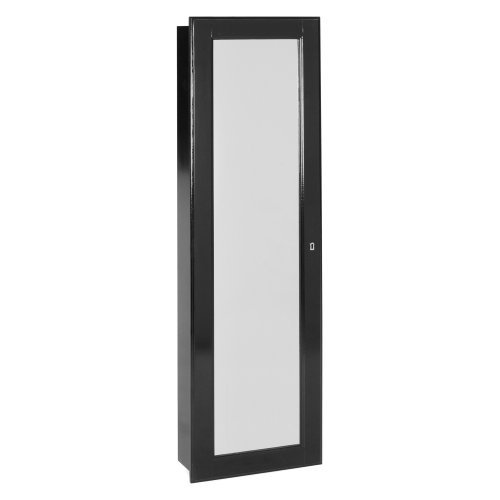 Modern Luxury Mounted Hanging Safe Lock Chest Jewelry Armoire Organizer Storage Locking Wall Mounted Ring Holder Necklace Hook Mirror Finish Espresso Ivory Lining Felt Material Wood 14.5Wx4.75Dx50Hin