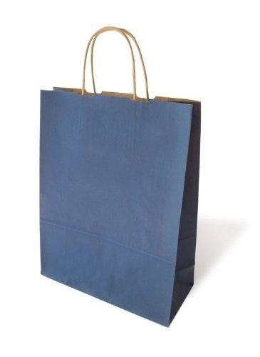 25 farbige Papiertragetaschen mit Kordel Papiertaschen Tüten Geschenktüten Papiertüten Tragetaschen Shopper blau 17 + 7 x 21 cm