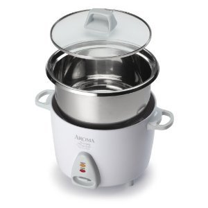 Home Essential Aroma Simply Stainless 3-Cup(Uncooked) 6-Cup (Cooked) Rice Cooker White