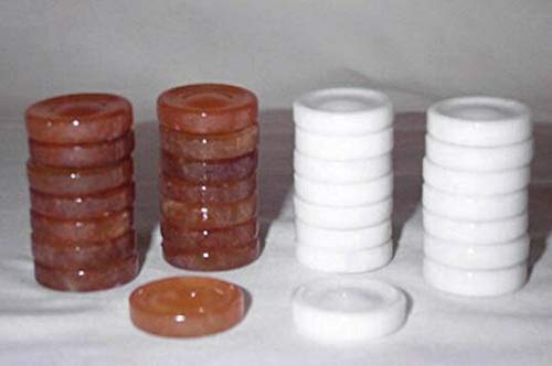 Quality Stone Backgammon Pieces, Replacement Backgammon Chips or Checkers - 1.25 Inch, White and Brown