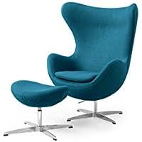 Kardiel Amoeba Chair & Ottoman, Caribbean Boucle Cashmere Wool