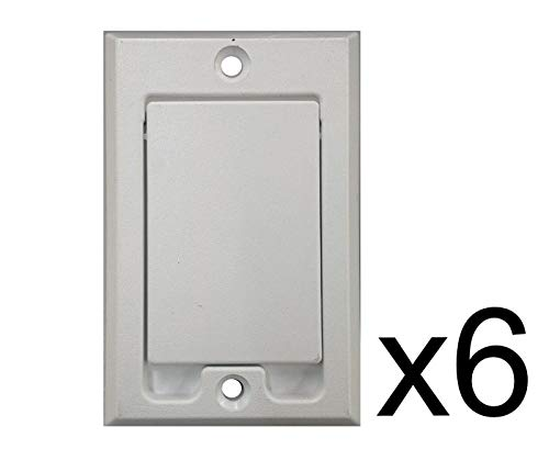 (6) Central Vacuum Square Door Inlet Wall Plate White for Nutone Beam VacuFlow ()