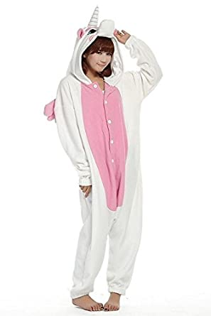 Kigurumi Pijamas Unisexo Adulto Traje Disfraz Adulto Animal Pyjamas (Pink Unicorn, M)