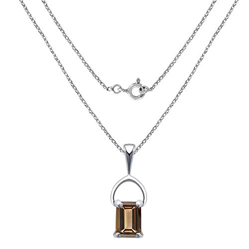 - 1 Carat Smoky Quartz Princess Sterling Silver Pendant for Women by Orchid Jewelry