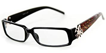 ef61bda45b  quot Cabaret quot  Trendy Reading Glasses with Fleur De Lis emblem and  Animal Print Temples