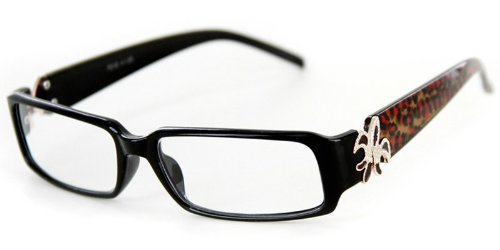 """""""Cabaret"""" Trendy Reading Glasses with Fleur De Lis emblem and Animal Print Temples by Ritzy Readers (Black & Cheetah +1.00)"""
