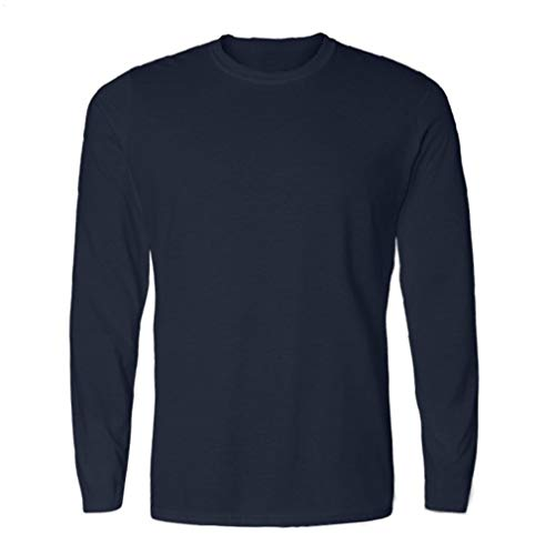 Antimicrobial Long Sleeve Jersey - Men's Cotton UPF 50+ UV Jersey Sun Apparel Protection Long Sleeve Cool T-Shirt (XL, Navy)