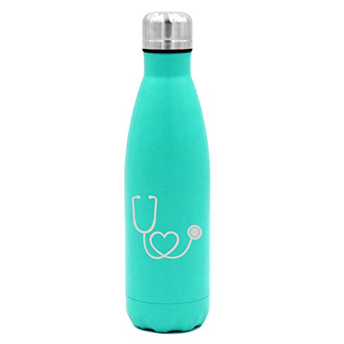 17 oz. Double Wall Vacuum Insulated Stainless Steel Water Bottle Travel Mug Cup Heart Stethoscope Nurse Doctor (Light-Blue)