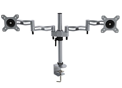 Duronic Desk Mount DM352 /SR SILVER Dual PC LED LCD Desk Mount Arm Monitor Stand Clamp Bracket Twin | Fits: 13-27"