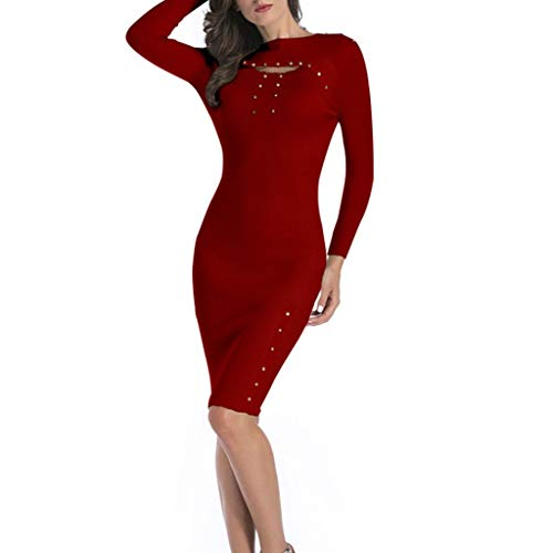 g Sleeve Slim Fit Jumper Dress Bodycon Warp Club Formal Party Evening Dress(Red,M) ()