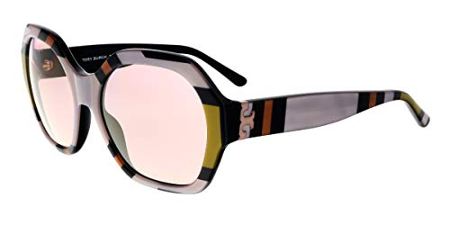 Tory Burch Women's 0TY7120 57mm Octagon Square Enlarged Print/Pink Mirror Gold One ()