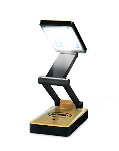 Ideaworks Super Bright Portable LED Lamp - 24 Bright LED Lights - 3 Levels of Brightness - Collapsible Design for Easy Storage & Portability - Wood Grain Finish (Black Woodgrain)