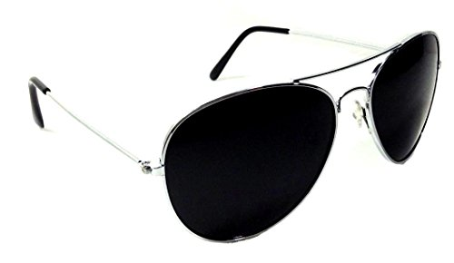 Black & Silver Pilot Aviator Sunglasses Super Dark - Sunglasses For Women Pilot
