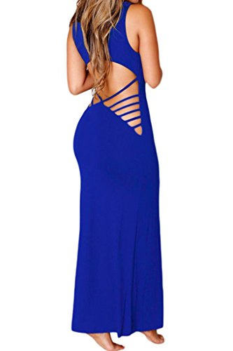 Chase Secret Womens Summer Beach Hollow Out Maxi Club Dress Medium Blue