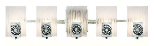 Varaluz 182B05 Polar 5-Light Vanity - Blackened Silver Finish with Ice Crystal Recycled ()