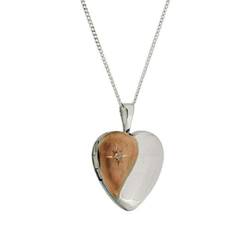 The Olivia Collection TOC Sterling Silver Two Tone Engraved Heart Locket Necklace 18