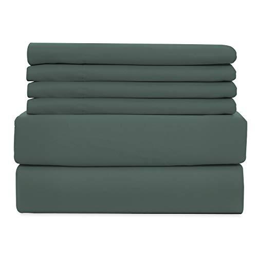 WAVVA 6 Piece Bedding Set - Hotel Collection Deep Pocket, Wrinkle & Fade Resistant - Sedona Sage, Dark Green, Queen - Sedona Set Bedding
