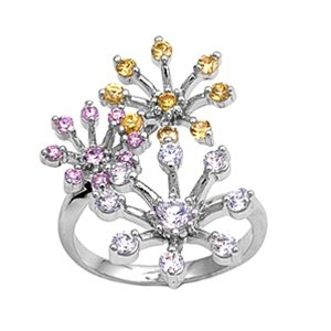 Multi Color Pink, Purple, Yellow Flower Ring (.925 Italian Sterling Silver, - Ring Flower Sapphire Pink